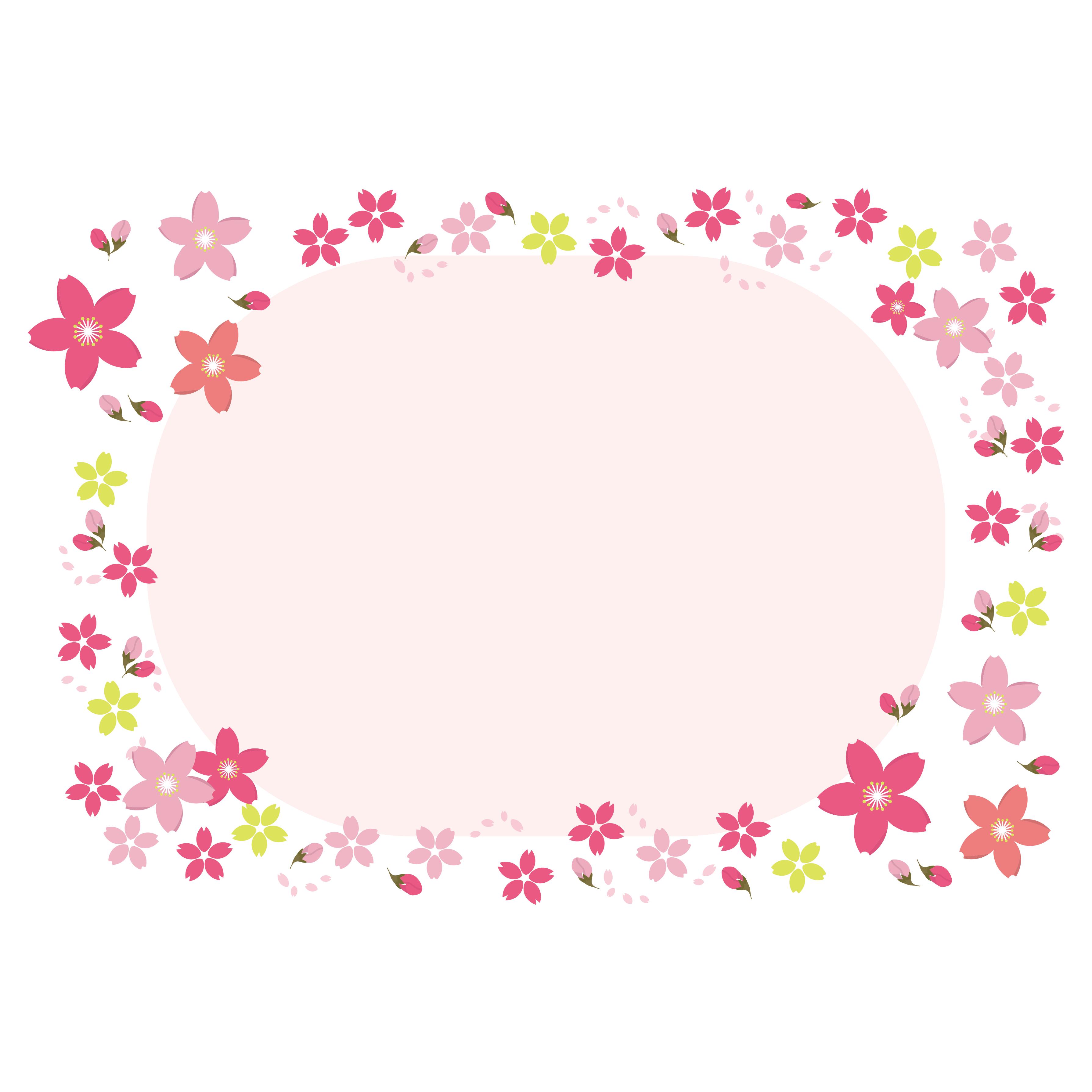 かわいい!桜(さくら)のカラフルフレーム フリー イラスト
