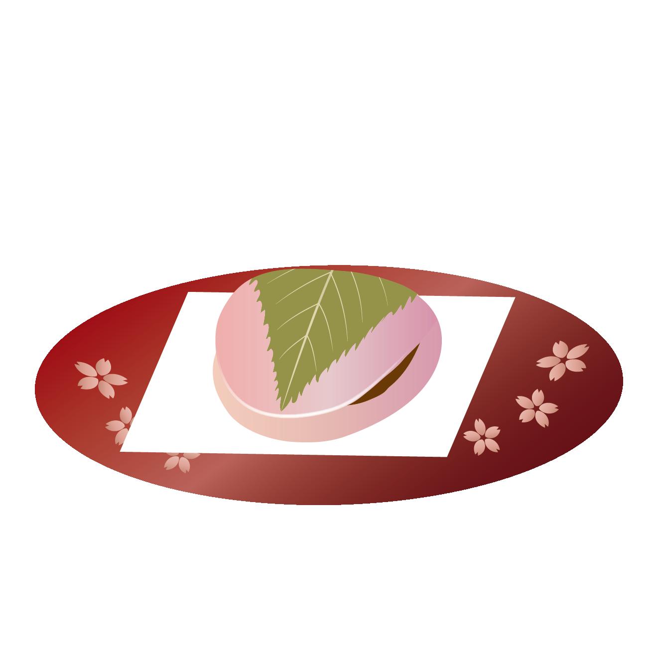 さくら餅 の フリー イラスト【関東風・長命寺(ちょうめいじ)】