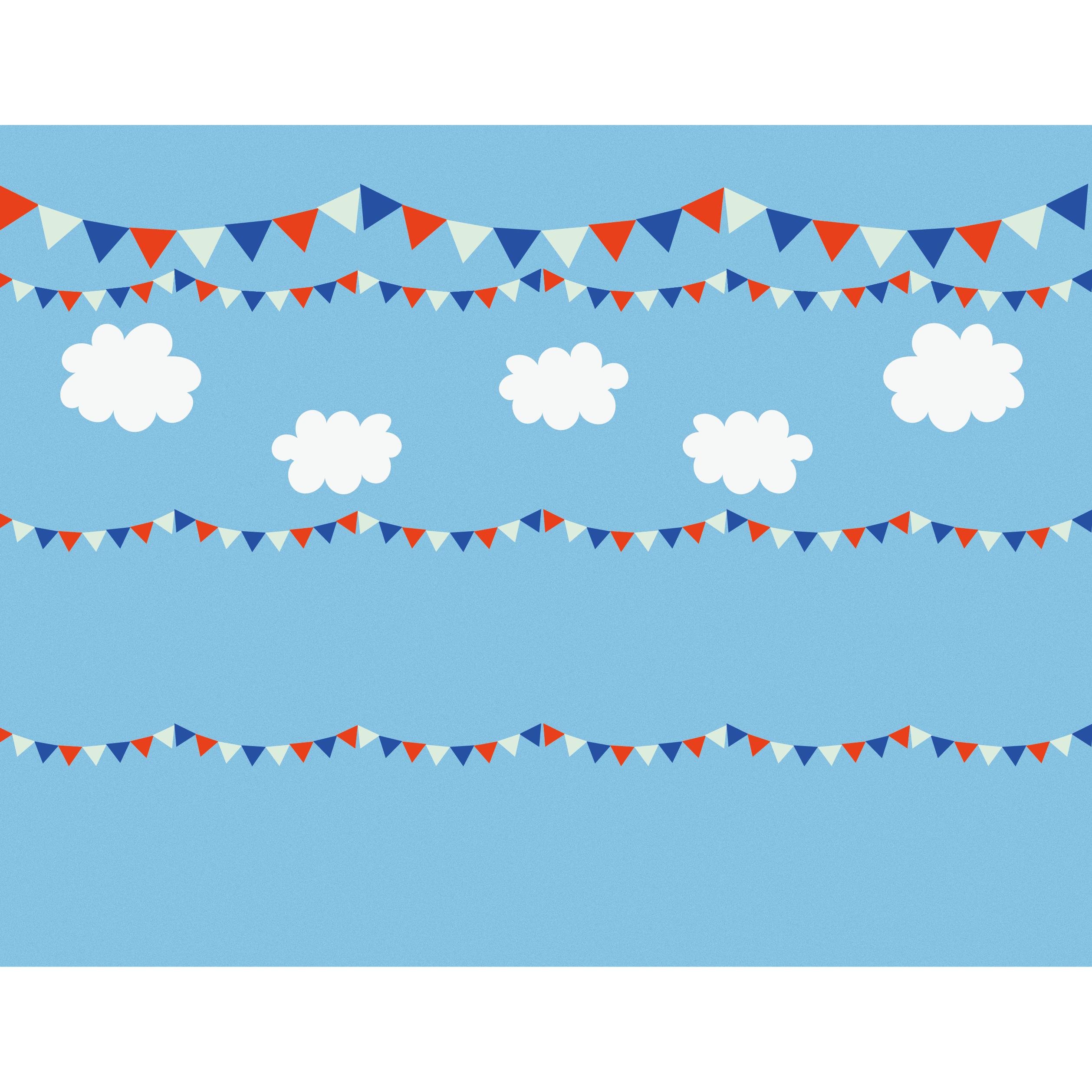 青い空とフラッグガーランドのイラストデザイン素材背景