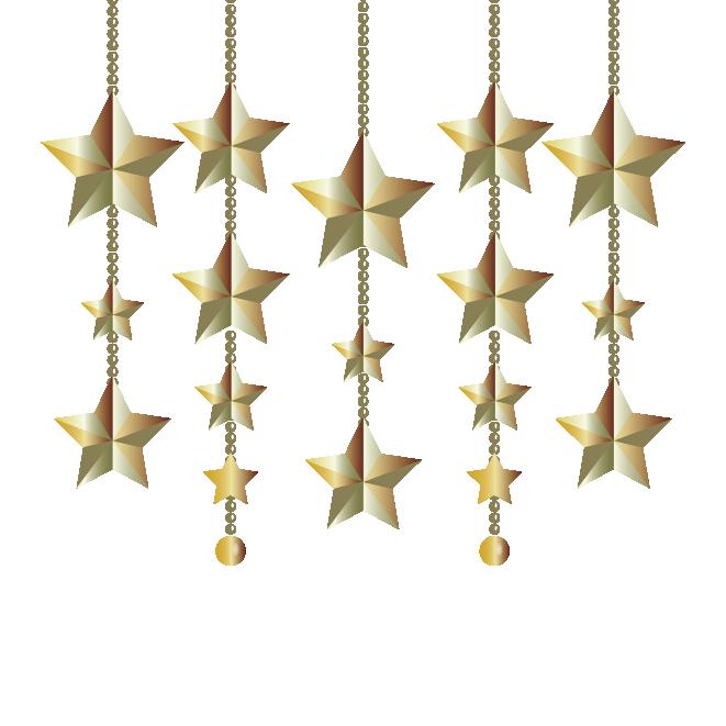 とってもキラキラ!クリスマスの飾り(星型オーナメント)イラスト