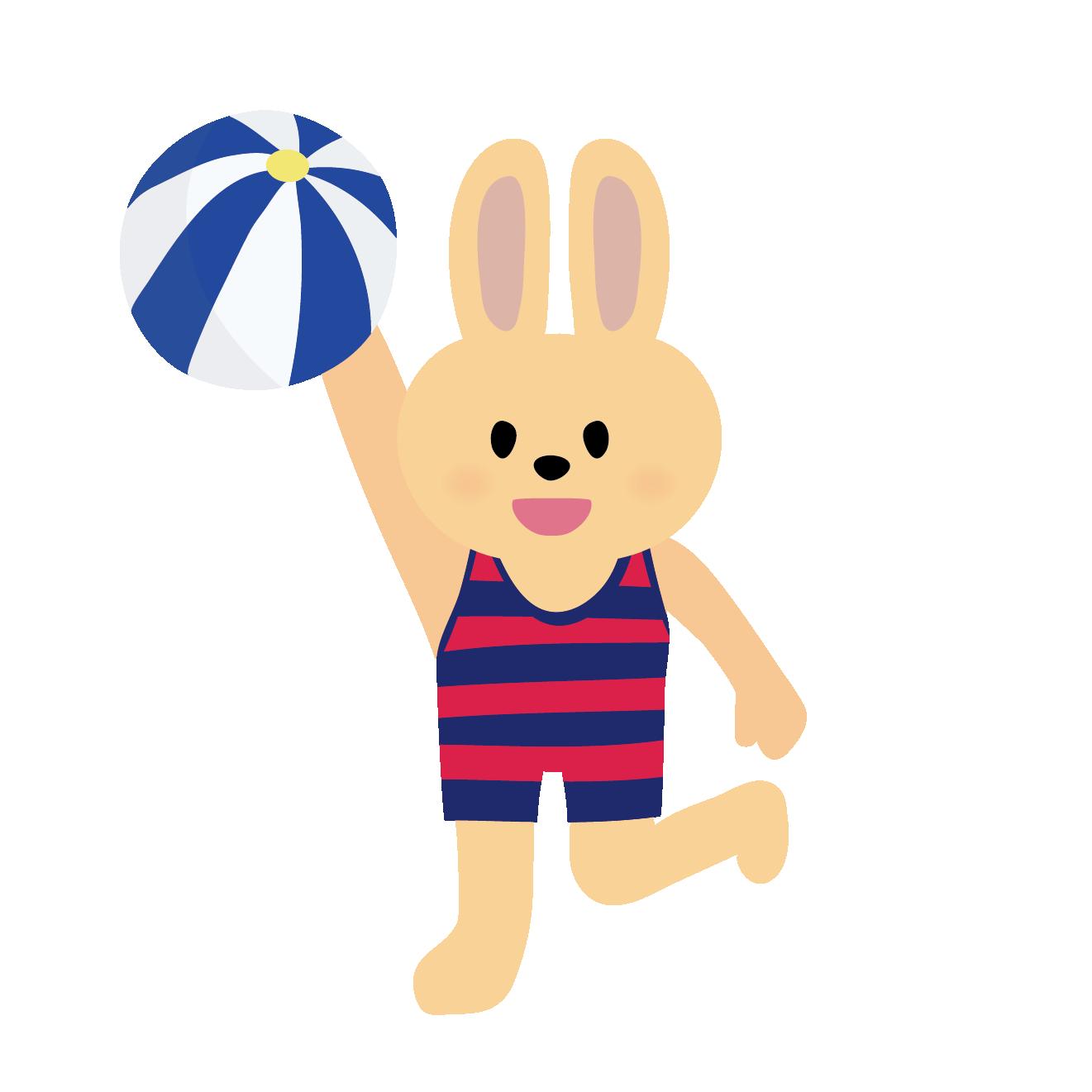 ビーチボールで遊ぶ♪ 水着を着た うさぎさんのイラスト | 商用フリー