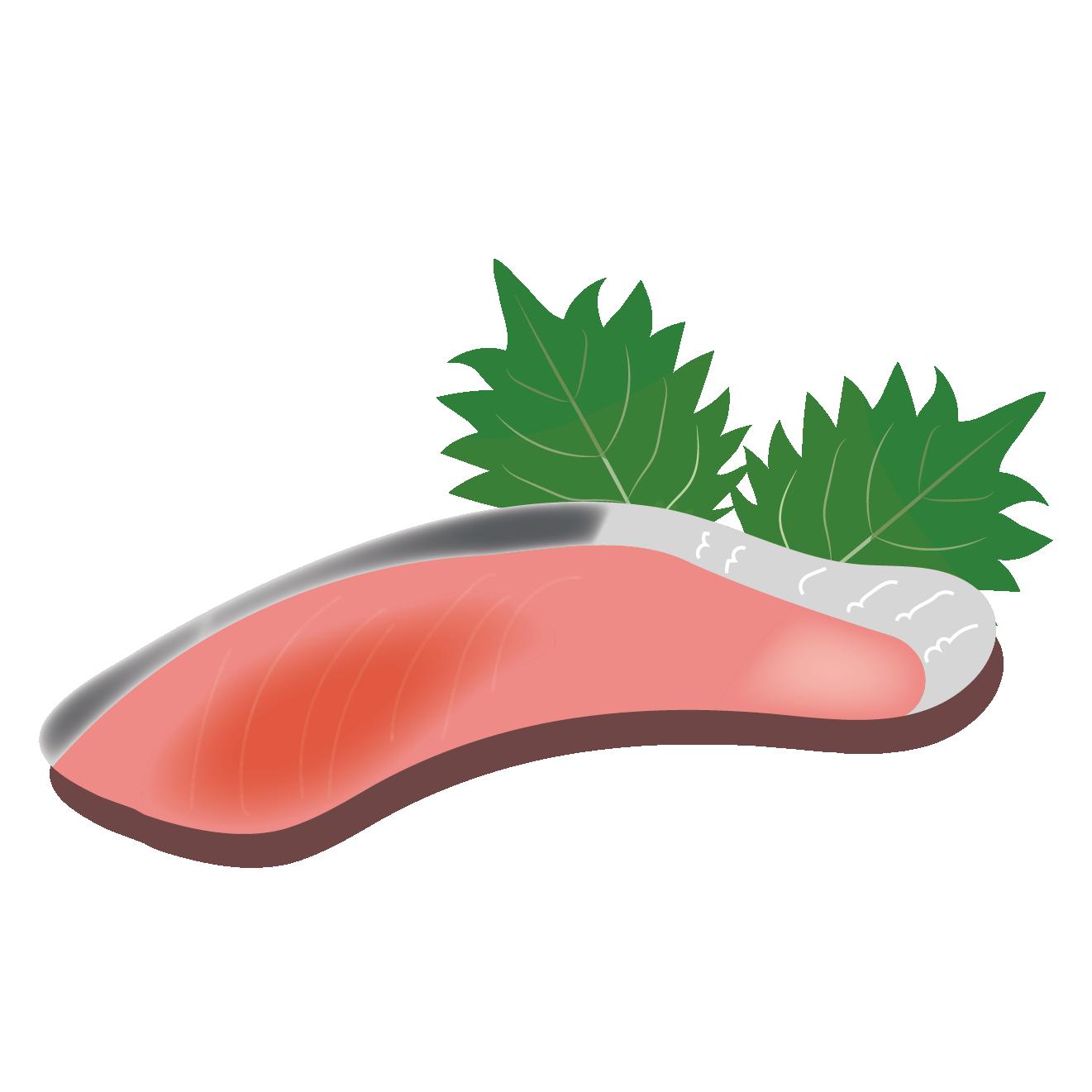 鮭(サケ・シャケ)の切身のイラスト 【魚】 | 商用フリー(無料)の