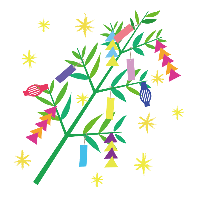 キラキラかわいい♪七夕と笹の葉と短冊のイラスト
