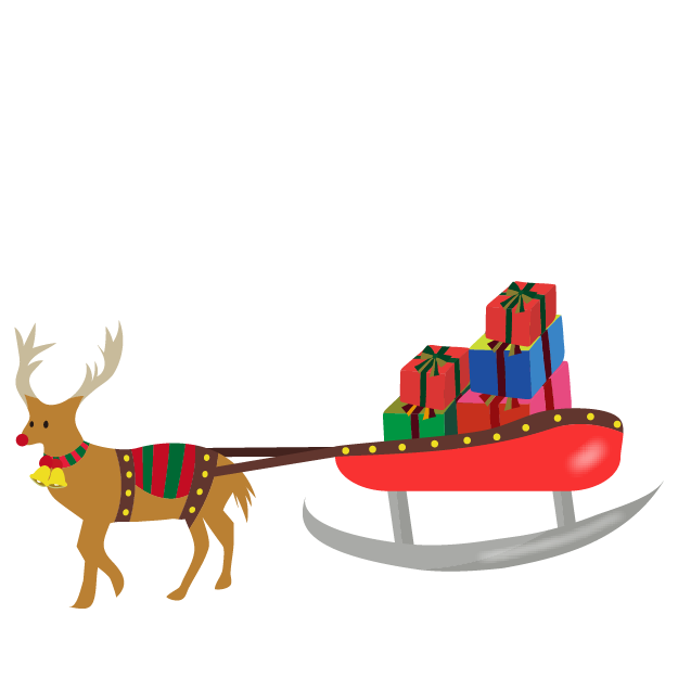 クリスマス♪かわいい トナカイとクリスマスプレゼントのイラスト