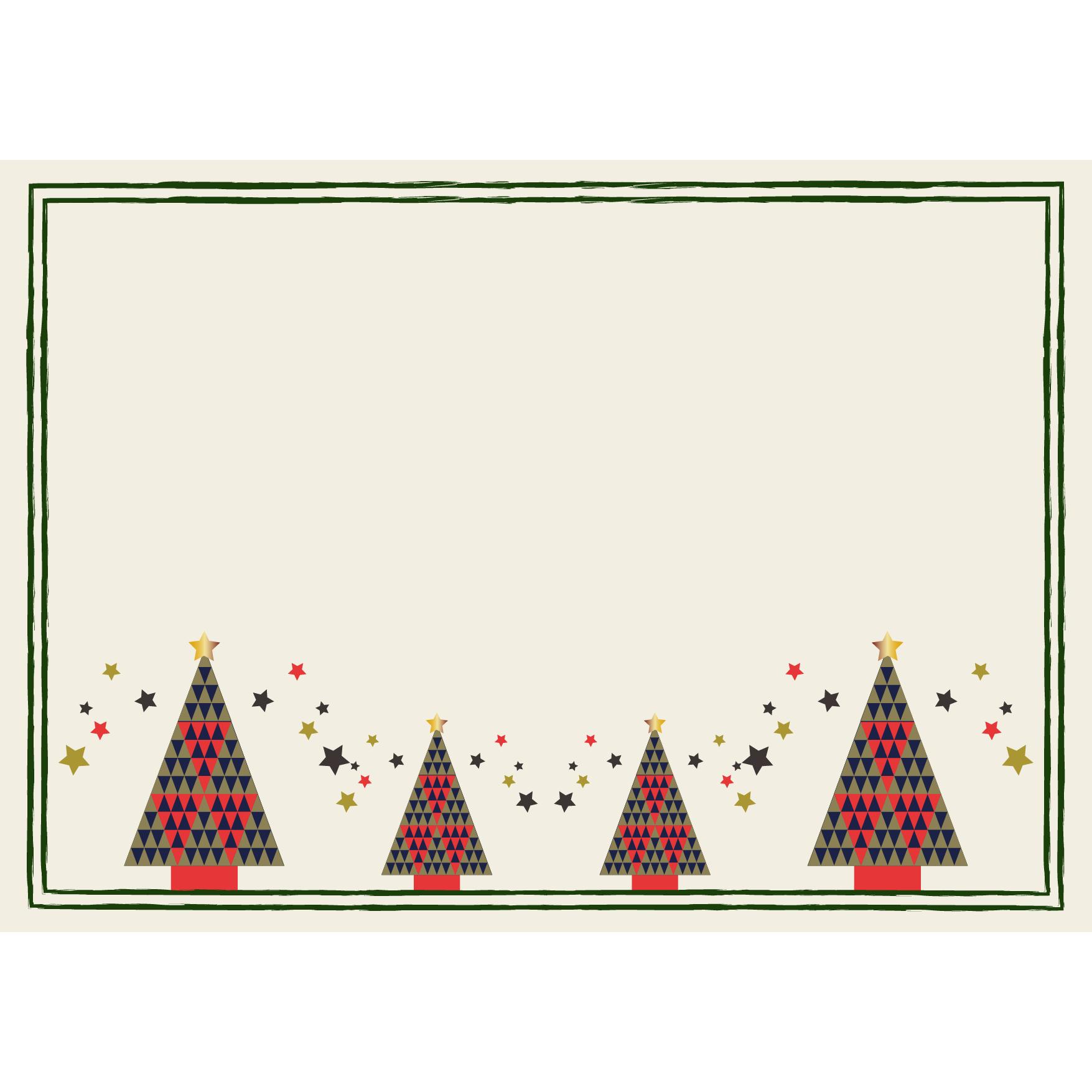 北欧風♪クリスマスツリーの枠(フレーム) a4サイズ イラスト | 商用