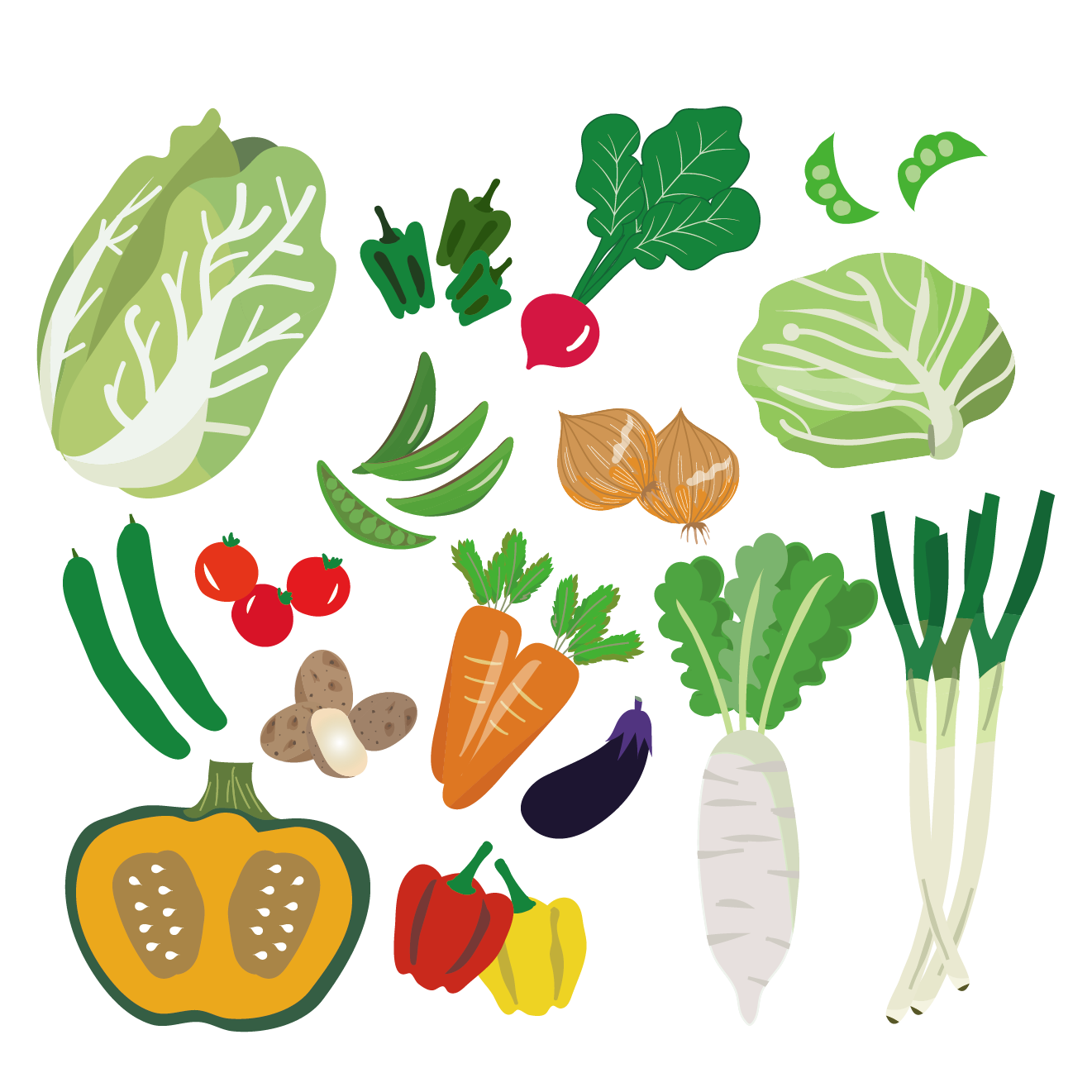 野菜 イラスト!みんな集合♪野菜まとめ | 商用フリー(無料)のイラスト
