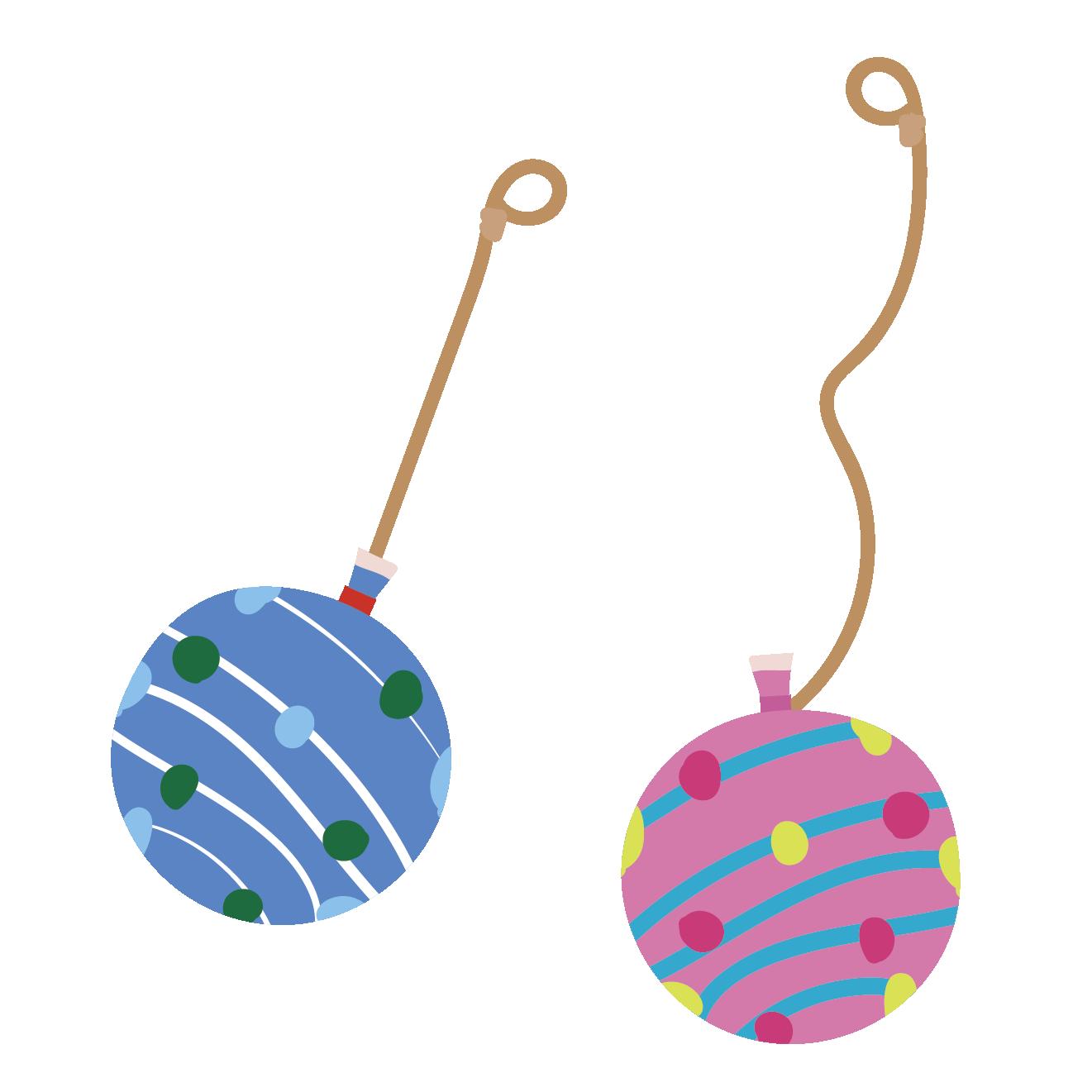 ヨーヨー(ヨーヨーすくいの風船)青とピンク色のイラスト