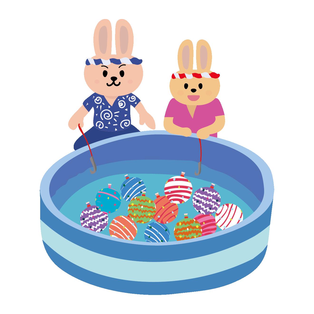 お祭り!ヨーヨー釣り(ヨーヨーすくい)を楽しむウサギの イラスト