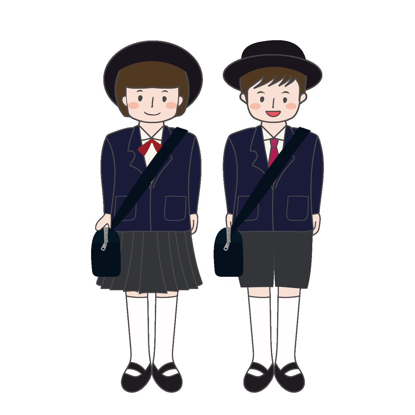 制服を着た男の子と女の子の幼稚園児のイラスト 商用フリー無料の
