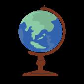かわいい!地球儀の フリー素材 イラスト!