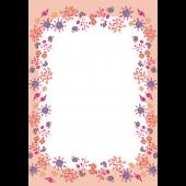 かわいい花柄フレーム(便箋・枠)のイラスト A4サイズ