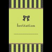 リボンがおしゃれでかわいい♪招待状 テンプレート(緑) イラスト