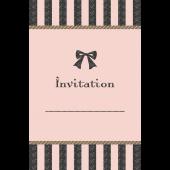 リボンがおしゃれでかわいい♪招待状 テンプレート(ピンク) イラスト
