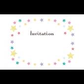 かわいい星枠♪招待状 の テンプレート 英語  イラスト