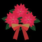 ポインセチアとリボンのクリスマス フリー イラスト