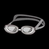 水中眼鏡  ゴーグル の 白黒  無料 イラスト