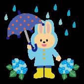 水色のレインコートを着たうさぎの かわいい フリー イラスト【梅雨】