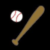 野球(ベースボール)のボール&バットの手描き風イラスト【スポーツ】