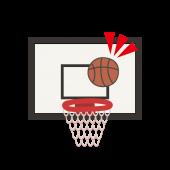 バスケ(バスケットボール)でゴール&シュート イラスト【スポーツ】