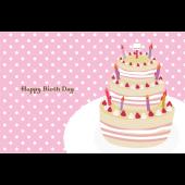 誕生日カードのテンプレート 水玉柄とケーキとお皿 無料 イラスト