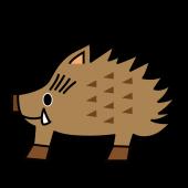 かわいい!にっこり♪ 猪(イノシシ・いのしし)の 無料 イラスト