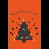クリスマスツリーとガーランドのクリスマスカード イラスト