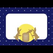 お月見!うさぎが餅つきをする満月  無料 フレーム (枠)イラスト