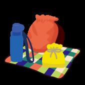 遠足セット(水筒、お弁当、リュク、シート)の 無料 イラスト
