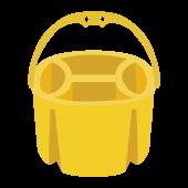 かわいい♪ 黄色の 絵の具 の 筆洗いバケツ の  無料 イラスト
