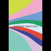 【暑中・残暑見舞い・縦】お洒落な幾何学模様グリーティング イラスト