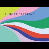 【暑中・残暑見舞い・横】お洒落な幾何学模様グリーティング イラスト
