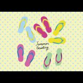 【暑中・残暑見舞い・横】ビーチサンダルのグリーティング イラスト