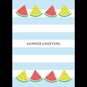 【暑中・残暑見舞い・縦】スイカのかわいいグリーティング イラスト
