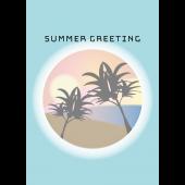 【暑中・残暑見舞い・縦】おしゃれな夕暮れのヤシの木素材 イラスト