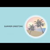 【暑中・残暑見舞い・横】はがきサイズのおしゃれな夕暮れ イラスト