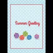 【暑中・残暑見舞い・縦】ドット&水風船のグリーティング  イラスト