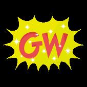 GW!ゴールデンウィークの文字(ロゴ)マーク イラスト