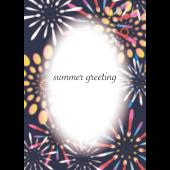 【暑中・残暑見舞い・縦】Summer Greeting 打ち上げ花火の イラスト