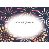 【暑中・残暑見舞い・横】Summer Greeting 打ち上げ花火の イラスト
