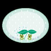 梅雨 ♪ 蛙(カエル)のメモ帳(フレーム) テンプレート イラスト