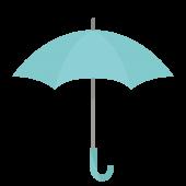 水色の傘(かさ)無料(フリー)イラスト