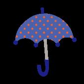 かわいい水玉(ドット)柄の青い傘の 無料 イラスト