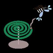 蚊取り線香 で 退治される「蚊」のイラスト