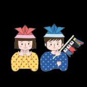 こどもの日!兜(カブト)の折り紙帽子を被った子供の イラスト