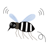 ブ〜ンと飛ぶ 蚊 の無料  夏 素材イラスト