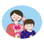 母の日!お母さんにカーネーションをプレゼントする男の子イラスト