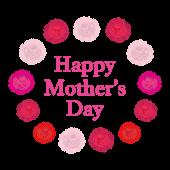 母の日「Happy Mother's Day」ロゴ!カーネーション イラスト
