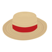 夏だ!麦わら帽子 (赤リボン)の フリー イラスト