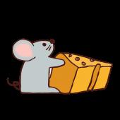 ネズミ(鼠,ねずみ)と チーズ!かわいい 手書き  無料 イラスト!