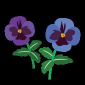 かわいい♪青(ブルー)と紫色のパンジー(花)の フリー イラスト